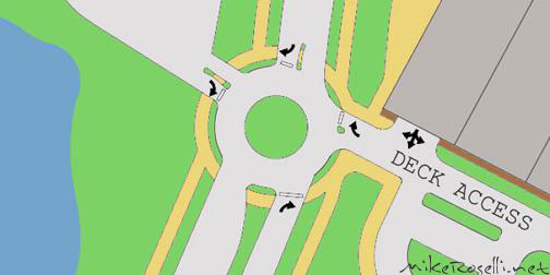 Roundabout - Entrance to proposed parking deck